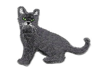 Cat- Kitten - Gray - Pet - Cat Lover - Embroidered Iron On Applique Patch