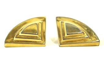 Gold Horizon CLIP EARRINGS. Large Bold Earrings.  Triangle 80s earrings. Costume Jewelry.