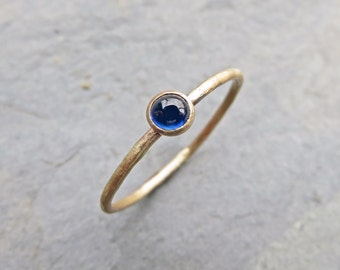 Tiny 14k Gold Sapphire Ring - 3mm Round Sapphire Stack Ring in Yellow Gold - September Birthstone Mother's Ring - Hammered, Matte, Polished