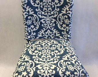 Chair Back Cover Damask Indigo U0026 Cream, Kitchen Chair Slipcover. Cottage  Chic. Armless