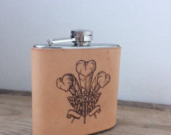 Three Feathers, Welsh Rugby Leather Hip Flask, Welsh gifts