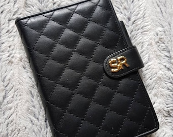 Sonia Rykiel quilted leather organizer notepad purse vintage