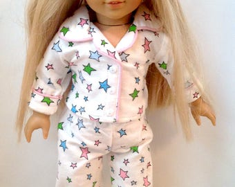 """Star Print Flannel 2 Piece Pajamas for American Girl or 18"""" Doll"""