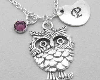 Owl heart initial necklace   owl charm necklace   owl pendant   personalised owl necklace   owl jewelry   letter   birthstone