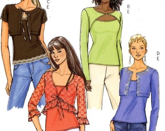 Shrug and top Spring Summer sewing casual modern tops sewing pattern Butterick 4739 Sz 6 to 12