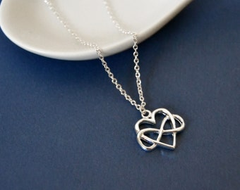Sterling Infinity Heart Necklace Silver Heart Pendant Necklace Silver Infinity Necklace, Silver Infinity Pendant Necklace Infinite Love
