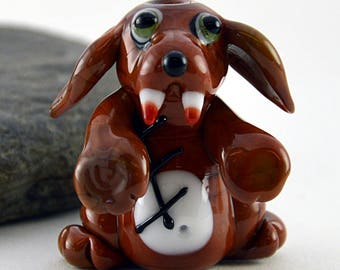 ZOMBEE dog whimiscal focal glass lampwork bead, collectible dog bead, Izzybeads SRA