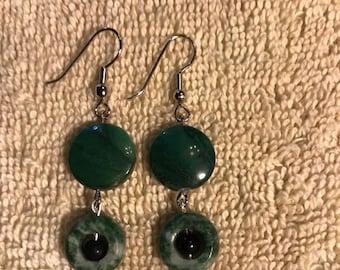 Ladies jasper stacked circle earrings.