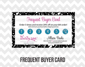Thirty-One Loyalty Frequent Buyer Business Card Printable Direct Sales MLM Business Card