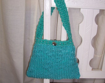 7 x 10 Sweater Handbag Re Style Turquoise Knit Hand Crochet Purse Metallic Fabric OOAK Eco Craft Fashion Repurpose Original Design Bag Gift