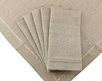 "12 Pack - 20"" Natural Linen Hemstitch Dinner Napkins - 100% Pure Linen - Ladder Hemstitched Cloth Napkins - Embroidery Monogram Supplies"