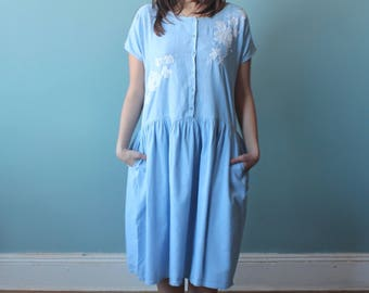SALE chambray dress with white embroidered flowers | drop waist cotton dress | 1990s small medium