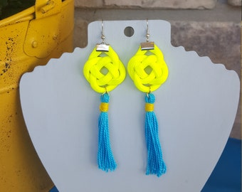 Paracord Rope Knot Tassel Earrings in Neon Yellow and Light Blue