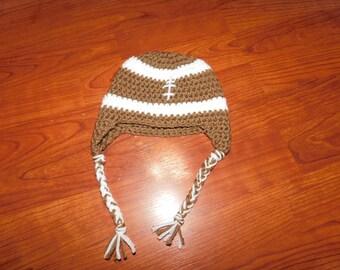 Crochet Football hat - Size 0 - 3 months