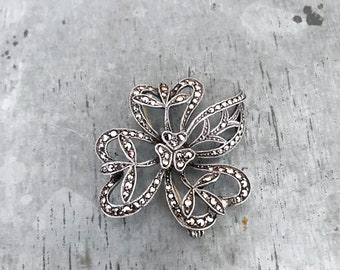Marcasite brooch, hallmarked silver and marcasite brooch, art deco brooch, vintage brooch, vintage marcasite brooch, silver brooch,