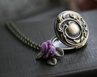 Round locket necklace , gold locket necklace , flower locket, round flower locket, long locket necklace , locket necklaces - Mia