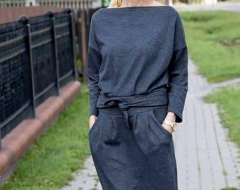 KIKA - 100% cotton midi dress / autumn dress / graphite / black / red / grey / dress Knee Length / dress women / simple dress / pockets