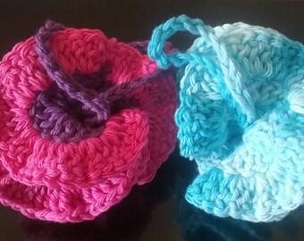 Red Cotton Loofah Crochet Bath Pouf Exfoliating Loofah