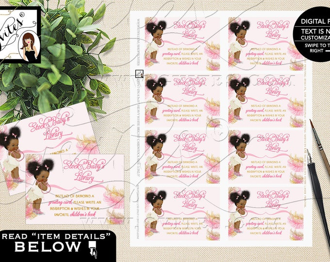 "Book For Baby Shower Invitation, Baby Inserts, Book Request, Card, Afro Puffs, Ribbons Pink Gold African American Girl 3.5x2.5""/8 Per Sheet"