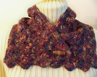 Sale   Button up Crocheted SCARFLETTE Cowl NECK WARMER