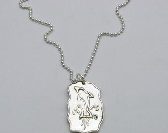 Silver Dolphin Necklace, Handmade Dolphin Necklace, Whimsical Dolphin Necklace, Doodle Dolphin Necklace, Zentangle Dolphin, Jumping Dolphin