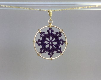 Nautical doily necklace, purple hand-dyed silk thread, 14K gold-filled