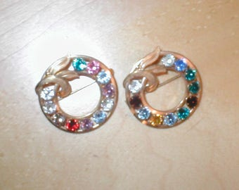 Vintage signed Van Dell Brooches - Rhinestone Wreath - 1/20 12 kt gold- lot of 2