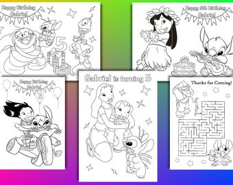 Lilo and stitch Birthday Party Favor, lilo and stitch coloring pages, PDF file