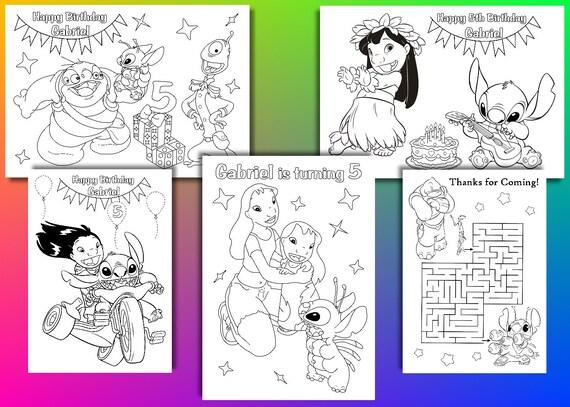Lilo y puntada cumpleaños fiesta Favor páginas para colorear