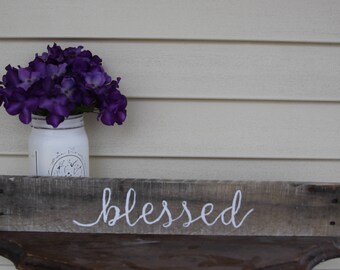 blessed sign, blessed wood sign, blessed home sign, rustic wood signs, farmhouse wood sign, gallery wall sign, rustic wall decor, primitive