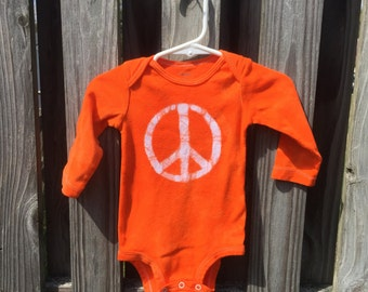 Peace Sign Baby Bodysuit, Peace Baby Bodysuit, Peace Sign Baby Gift, Orange Baby Bodysuit, Gender Neutral Baby Bodysuit (9 months)