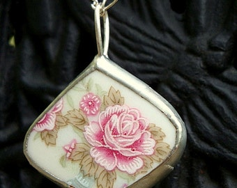 Sale - Pink Rose Broken China Necklace