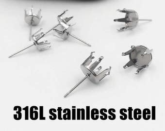 Wholesale 100 316L Stainless Steel Six Prongs Post Earring fit with 3mm/ 4mm/ 5mm/ 6mm/ 7mm/ 8mm/ 9mm/ 10mm Round Rhinestone/ Gems Ear Studs