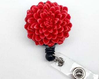 Handmade Red Chrysanthemum  Flower Cabochon Alligator Swivel Clip Retractable ID Badge Reel / Name Badges / ID Badge Holder Great Gift