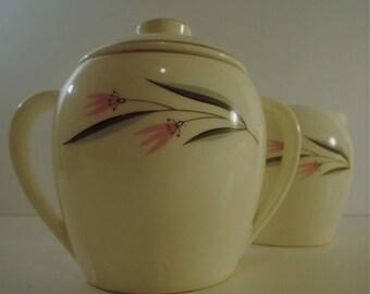Vintage Floral Creamer & Sugar Bowl 1950s-1960s