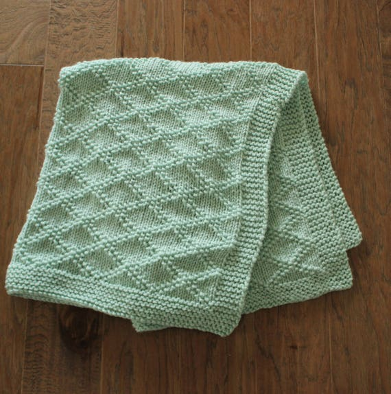 PDF Knitting Pattern Simple baby blanket beginner knitting