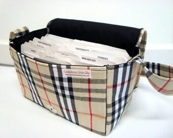 Super Large Size Coupon Organizer / Budget Organizer Holder Box - Tan, Black and Red Plaid