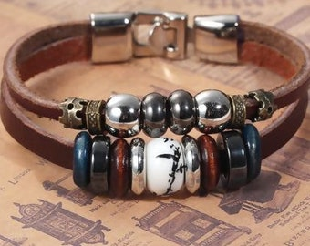 "Real Leather Double Layer Bracelets At Random Pattern Coffee Cord Multicolor Beads - 8 4/8"" long"