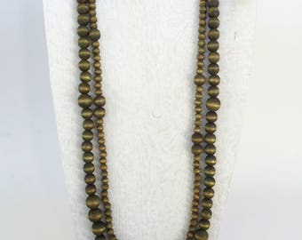 Olive Green Long Necklace - Green Statement Necklace - Multi Strand Necklace - Big Necklaces - Long Beaded Necklace - Green Necklace