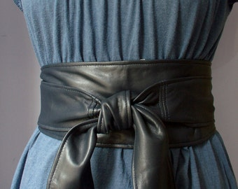 Handmade Navy Blue soft real leather obi belts / sash belts / tie belts / double wraps / wide belts / corset belts 2018 trends