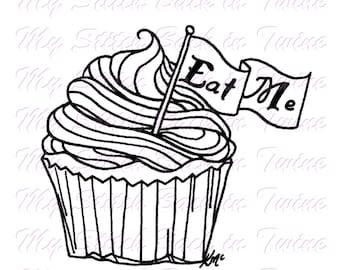 Digital stamp colouring image - Underland Cupcake Eat Me. jpeg / png