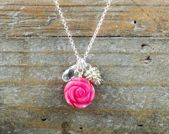 Pink Flower Necklace, Jade Flower, Silver Pine Cone Necklace, Pinecone Necklace, Crystal Necklace, Christmas Gift