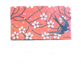 2018 - 2019  mini Planner - Swallows and Almond blossoms orange - pocket planner - two year calendar - chic 2 year monthly planner new year