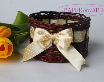 Wicker basket from paper with papaya whip ribbon Storage basket Lidded basket Willow basket Box for present Basket for gift Handwovenbasket