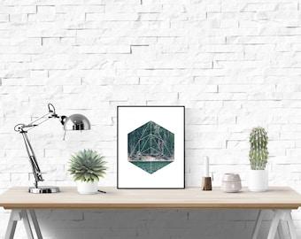 Hexagon Geometric Nature Print, Digital Download, Instant Download, Nature Photography, Green Art, Lake Print, Printable Art, Minimalist