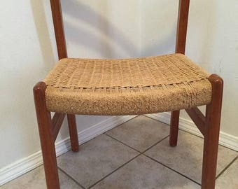 MEMORIAL HOLIDAY SALE - Vintage Danish Modern Teak chair with woven rope seat Mid Century Wegner Eames