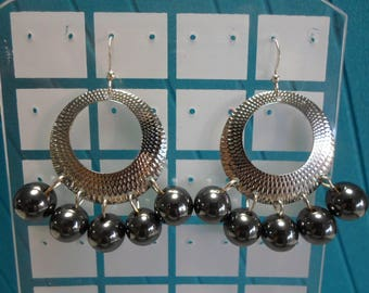 Hematite Earrings/ Silver (Original Rhodium) plated over brass