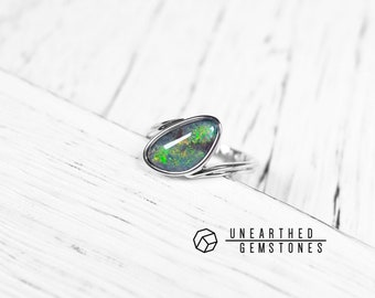 Opal Ring - Size 7 Stacking Ring, Solitaire Ring, Bezel Set Ring, Natural Opal Jewellery, Promise Ring, Ready to Ship 18mar703