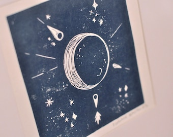 To the Moon. Moon linocut printed by hand