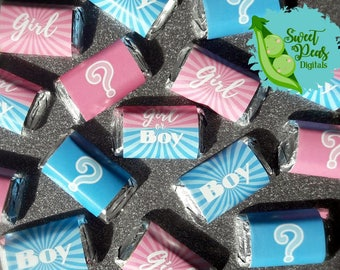 Girl or Boy Gender Reveal Miniature Candy Bar Wrappers